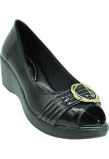 Sapato Azaleia Lev 637 Verniz Show Feminino - Feminino-Preto