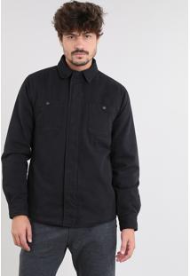 Jaqueta De Sarja Masculina Acolchoada Com Bolsos Preta