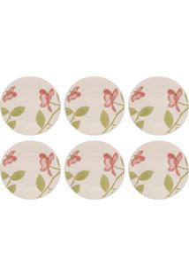 Jogo 6 Pratos Sobremesa Beauty 19Cm Em Cerâmica 005666 Biona