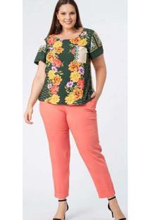 Blusa Almaria Plus Size Munny Estampada Verde