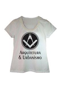 Camiseta Bordada Estampa Arquitetura Branca Calupa