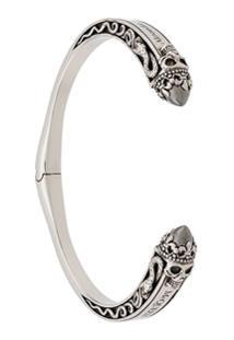 Alexander Mcqueen Bracelete Twin Skull - Prateado