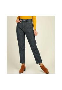 Calça Jeans Reta Feminina Bolsos