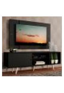 Rack Madesa Dubai Com Pés E Painel Para Tv Até 58 Polegadas - Preto/Preto 8N77