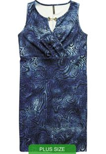 Vestido Curto Sem Manga Azul