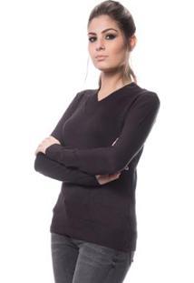 Blusa Logan Tricot Básica Linha E Lycra - Feminino-Preto