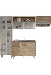 Cozinha Compacta Com 4 Peças Floripa 18-Politorno - Branco / Carvalho Claro