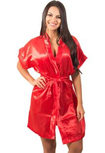 Robe Bella Fiore Modas De Cetim Liso Vermelho