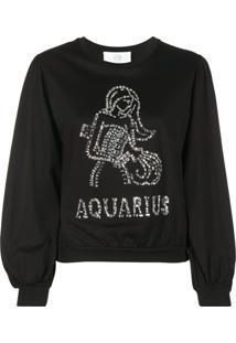 Alberta Ferretti Camiseta Aquarius Com Aplicação De Cristais - Preto
