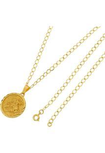 Pingente São Jorge Com Corrente Tudo Joias Grumet Folheado A Ouro 18K - Unissex-Dourado