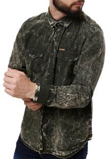 Camisa Manga Longa Masculina Verde