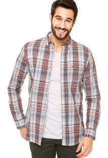 Camisa Lacoste Xadrez Branco/Azul/Vermelho