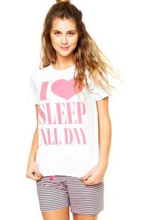 Pijama Malwee Liberta Love Listras Branca/Rosa