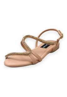 Sandália Rasteira Love Shoes Fivela S Strass Delicado Nude