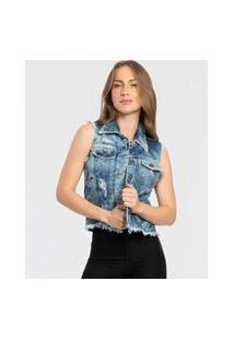 Colete Feminino Jeans Destroyed Ilhós Biotipo