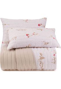 Conjunto De Colcha Floral Malha In Cotton Queen Size- Braltenburg