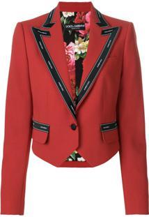 Dolce & Gabbana Jaqueta Cropped Em Lã - Vermelho