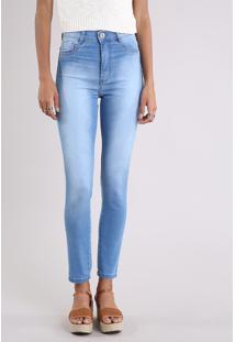 Calça Jeans Feminina Hot Pant Sawary Super Skinny Azul Claro