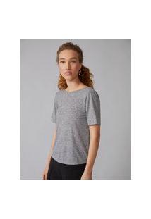 Amaro Feminino T-Shirt Transpasse Costas, Cinza