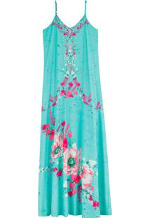 Vestido Azul Longo Floral