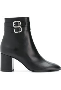Sonia Rykiel Ankle Boot 'Sr' De Couro - Preto