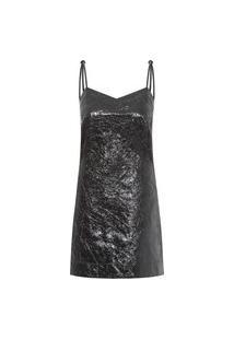 Vestido De Couro Metalizado - Preto