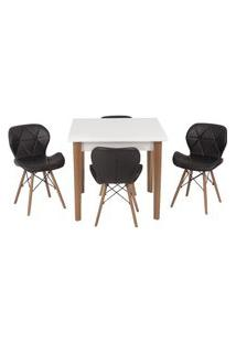Conjunto Mesa De Jantar Luiza 80Cm Branca Com 4 Cadeiras Slim - Preto