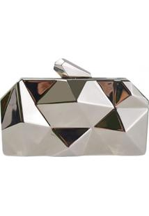 Bolsa Clutch Liage Geometrica Alça Removível Acrílico Metal Prata