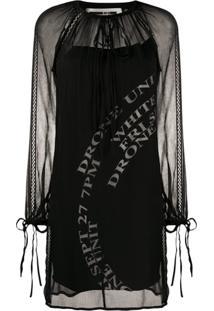 Mcq Alexander Mcqueen Vestido Reto De Chiffon Com Amarração Na Gola - Preto
