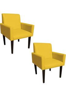 Kit 02 Poltrona Decorativa Dani Para Sala E Recepção Corino Amarelo - D'Rossi