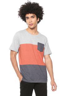 Camiseta Naxos Manga Curta Recotes Cinza/Laranja