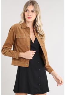 Jaqueta Feminina Em Veludo Cotelê Com Bolsos Caramelo