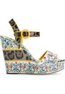 Dolce & Gabbana Sandália 'Majolica' De Couro - Estampado