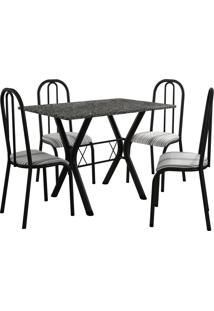 Conjunto De Mesa Miami 4 Cadeiras Preto Fosco/Preto Listrado Fabone