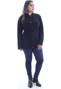 Casaco Saes Tricô Tricot Plus Size Militar Feminino - Feminino-Preto