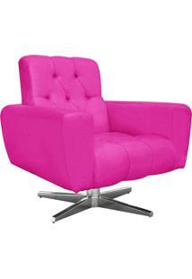Poltrona Decorativa Pietra Suede Pink Com Base Estrela Giratória Em Aço Cromado - D'Rossi