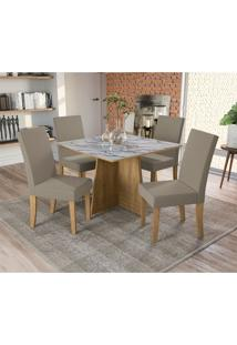 Conjunto De Mesa De Jantar Com Tampo De Vidro E 4 Cadeiras Lótus Suede Mesclado E Freijó