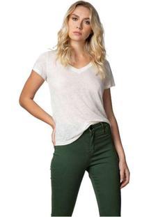 Camiseta Feminina Gola V Podrinha Branco