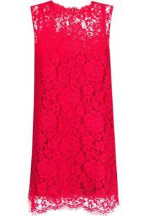 Dolce & Gabbana Vestido Reto Sem Mangas Com Renda - Vermelho