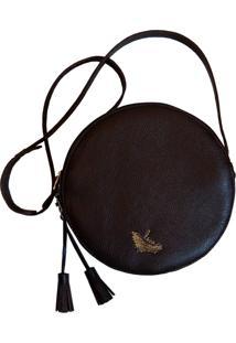 Bolsa Line Store Leather Redonda Couro Marrom Escuro. - Marrom - Feminino - Dafiti