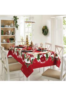 Toalha De Mesa Genebra Natal 1,40X2,10 - Flores - Dã¶Hler - Branco/Vermelho - Dafiti
