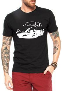 Camiseta Criativa Urbana Fusca Carro Antigo Clássico - Masculino-Preto