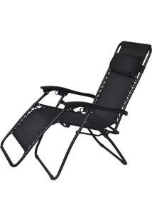 Cadeira Reclinável Trançada Preta