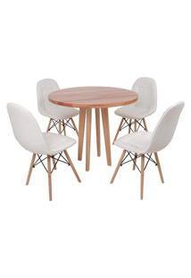 Conjunto Mesa De Jantar Em Madeira 90Cm Com Base Vértice + 4 Cadeiras Botonê - Branco