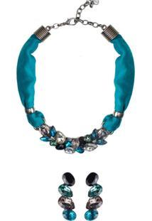 Conjunto Colar E Brinco Ear Cuff Armazem Rr Bijoux Tecido Cristal Azul Grafite