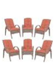 Cadeiras 6Un P/ Jardim Lazer Edicula Varanda Descanso Fibra E Tramas Napoli Plus Argila A40