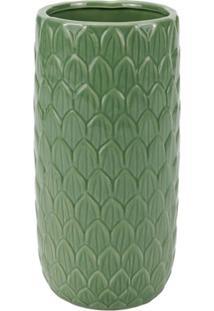 Vaso Decorativo Em Cerâmica 10X21Cm Verde