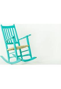 Cadeira De Balanço Palha Pestre Azul - 64X112X110 Cm