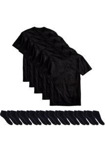 Kit 5 Camisetas Básicas Masculina T-Shirt Algodão + 10 Pares De Meias Soquete - Masculino