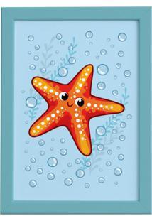 Quadro Infantil Estrela Do Mar Moldura Azul 22X32Cm